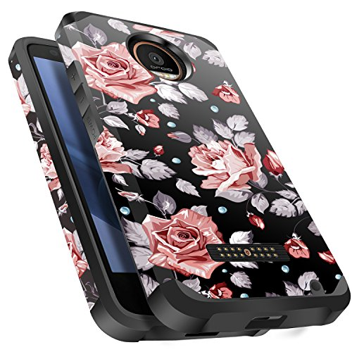 oto Z Force Droid Case, Miss Arts Slim Anti-Scratch Kit with [Drop Protection] Dual layer Hybrid Sturdy Armor Protective Cover Case for Motorola Moto Z Force -Rose Gold Flower ()