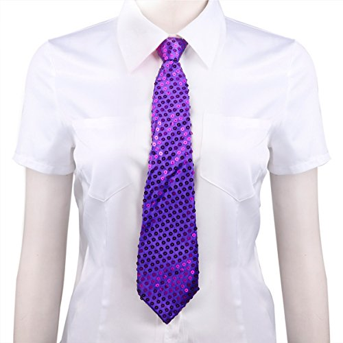 FEESHOW Sequin Pre-tied Tie Necktie with Adjustable Zipper for Party Costume Magic Show Purple One Size