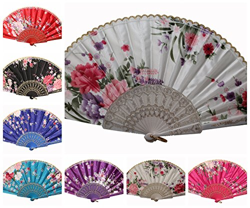 REINDEAR Wholesale Wedding Party Flower Print Multi-Pattern Decoration Fabric Folding Lace Silk Trim Hand Fan US Seller (10 Pcs, Colorful Silk) from REINDEAR