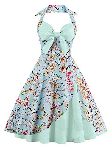 423750bb24e7 Bestfort Vintage Kleider Damen 50er Retro Mode V-Ausschnitt Rückenfrei Cocktailkleider  Ärmellos Festliche Rockabilly Kleid