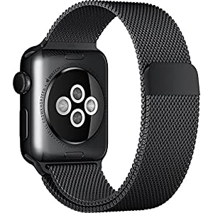 Apple MMFK2LL/A Watch 38mm Stainless Steel with Black Milanese Loop (Certified Refurbished) by Apple Computer