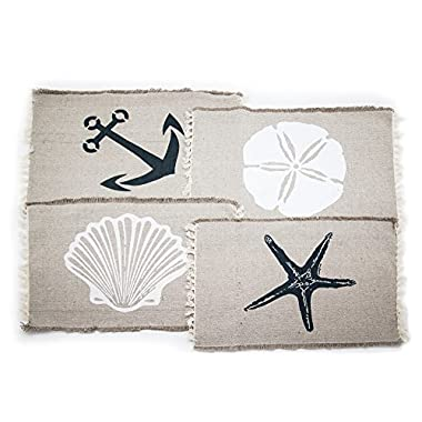 Set of 4 Beach-Themed Nautical Table Placemats (13 x19 ) - Seashell, Sand dollar, Starfish, Anchor