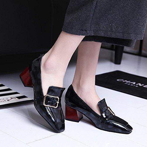 Bedel Voet Damesschoenen Vierkante Neus Op Monniksbanden Dikke Loafers Schoenen Zwart