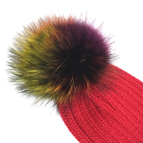 amazing mioim sombrero de piel de mapache sombrero pompn de punto de lana  pompon bolas gorro with gorro lana pompom. cheap cool fereti gorro largo ... 39a1dce2a7a