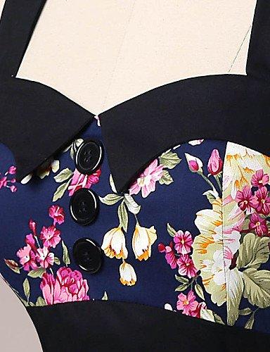 PU&PU Robe Aux femmes Gaine Vintage,Fleur Licou Mi-long Coton , navy blue-l , navy blue-l