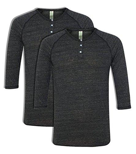 nbsp;pour jersey Pack Black Manches 4 2 Eco Henley 3 Pour Alternative Eco Homme 4vq70xt