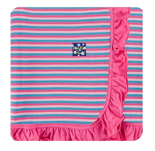 KicKee Pants Little Girls Print Ruffle Toddler Blanket - Flamingo Anniversary Stripe with Flamingo Trim, One Size (Stripes Anniversary)