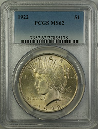 1922 Peace Silver Dollar Coin (ABR12-P) Better Coin Light Toning $1 MS-62 PCGS