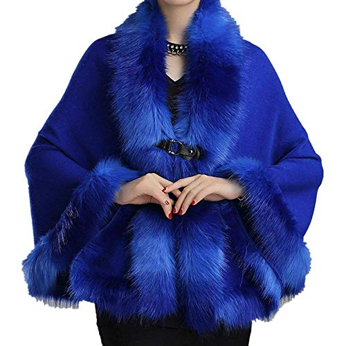 Hiver Fourrure Elégante Chale Haute Chauve Qualité Manteau Mode Art Festive souris Vintage Battercake Poncho Warm Cape Épaisseur Blau Party Femme Chic Fashion Outerwear De pEqWIFSW