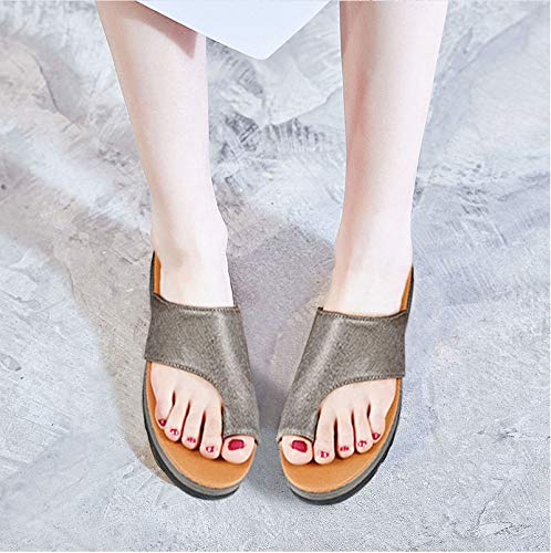 Amazon.com: hongxinyuan Women Sandals PU Leather Shoes Thick Bottom Ladies Casual Soft Big Toe Correction Shoes Sandals: Shoes