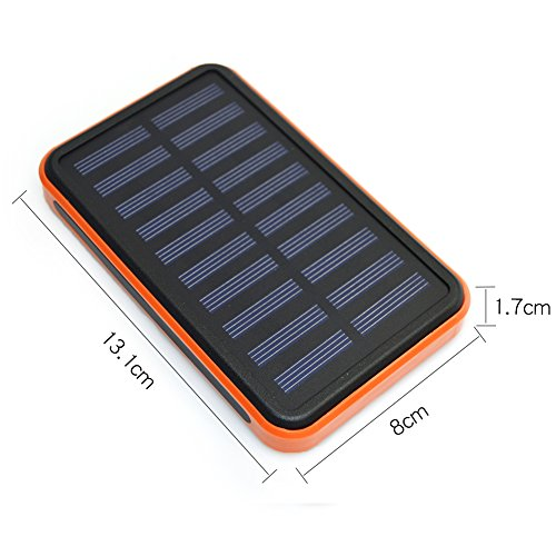 Review Solar Charger Power 20000mAh Outdoor Portable Charger Solar Power Bank Dual USB External Battery Pack Power Pack with Flashlight (IPX4 Waterproof, Dustproof, Solar Panel Charging, DC5V/2A Input)