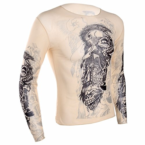Fitness Inspired Halloween Costumes (iiniim Men's Fake Tattoo Tribal Inspired Print Elastic Long Sleeve T-Shirt Tops Clubwear Nude CS43 One)