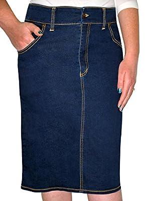 Kosher Casual Women's Modest Knee Length Stretch Denim Pencil Skirt No Slits