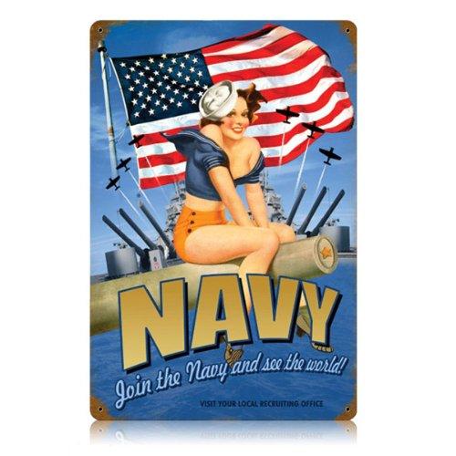 Navy Pin Up Girl Metal Sign]()
