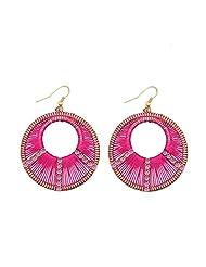 SKY ME SHOP_CA: Gold/Silver Plated Rhinestone Round Drop Earrings Handcraft Wire Weave Dangling Earings Fashion Jewelry