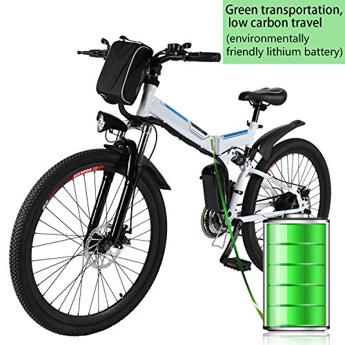 Kemanner 26 inch Electric Mountain Bike 21 Speed 36V 8A Lithium Battery Electric Bicycle for Adult (White(Fodable).) ()