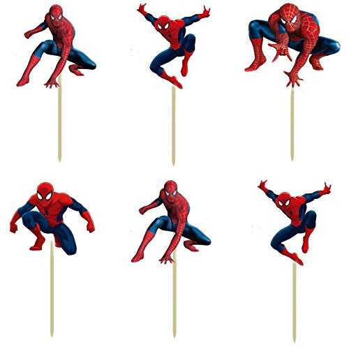 [72pcs Super hero Spiderman Cartoon Cupcake Toppers Picks boy Kids children birthday party evnent decorations Foods friuts] (Tattoos Of Princess Crowns)