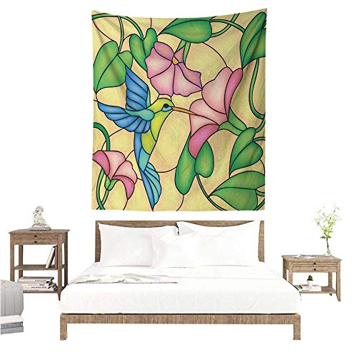 WilliamsDecor Smooth and Smooth Tapestry Hummingbird Stained Glass Style Bird and Hibiscus Tropical Flora and Fauna Illustration 70W x 93L INCH Suitable for Bedroom Living Room Dormitory