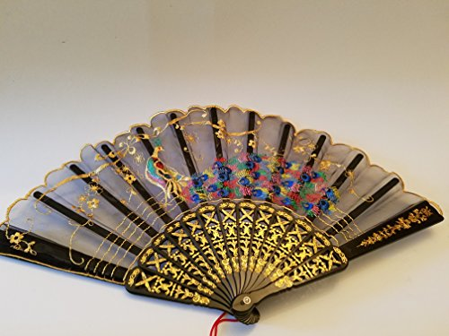 Beautiful Peacock Display Decor Fan: Nice Rich Colors: approx 16