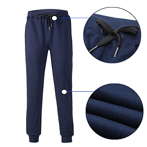 beroy Men's Jogger Pants Basic Active Training Running Gym Workout Pants Zipper Pockets Sweatpants