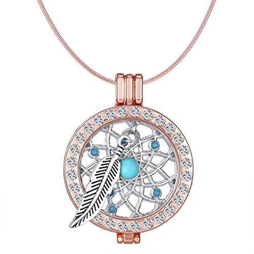 1 Pc Rose Gold Crystal Locket Dream Catcher Necklace Pendant Mini Arts Craft Rainbow Owl Feathers Hanging Nursery Bedding Room Transcendental Popular Dreamcatchers Girls Bedroom Car Wall Catchers Kit ()