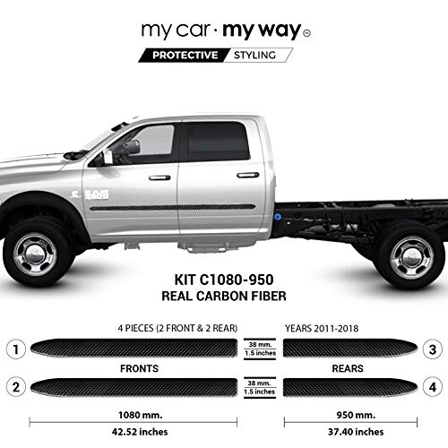 My Car My Way (Fits) Ram 3500-5500 2011-2018 Crew Chassis Real Carbon Fiber Body Side Molding Cover Trim Door Protector
