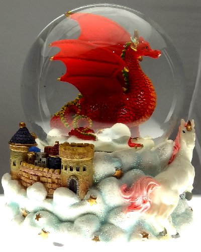 (Ruby Red Dragon with Mystic White Unicorn and Castle in the Clouds Snow Globe - Sculptured Resin Water Ball Music Box 5 3/4