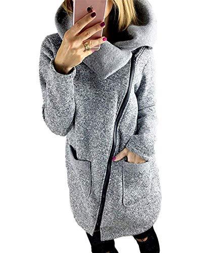 Manteau Femme Printemps Automne Elgante Uni Manche avec Fermeture clair Long Manches Outerwear Loisir Mode Vintage Haut Classique Coat Jacken Fille Gris