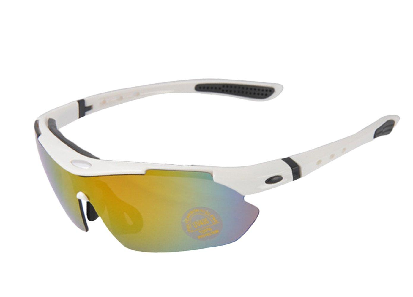 Insun Outdoor ciclismo sport occhiali da sole polarizzati 5Pack (4PC, lenti 1TAC), Uomo, Black and blue