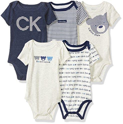 Calvin Klein Baby Boys' 5 Pack Bodysuits, Vanilla/Navy, 0-3 Months