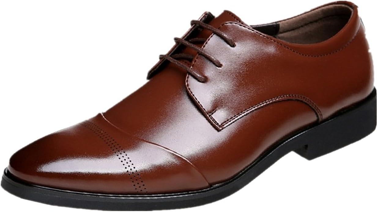 TALLA 39 EU. Zapatos Oxford Hombre, Cuero Vestir Cordones Derby Calzado Boda Negocios Brogue Negro Marron Rojo 37-47EU