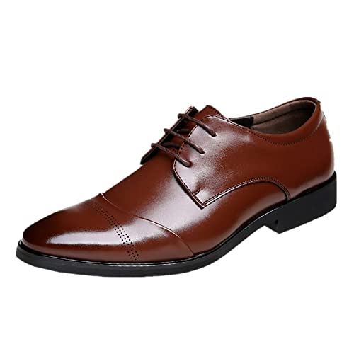 d6036b5fb65c46 JOYTO Chaussure Homme Cuir, Lacets Derby Mariage Dressing Oxford Business  Cuir Vernis Brogue Vintage Marron