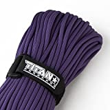 "TITAN MIL-SPEC 550 Paracord / Parachute Cord, 100 Feet, Purple | Authentic MIL-C-5040, Type III, 7 Strand, 5/32"" (4mm) Diameter, Military Survival Paracords."