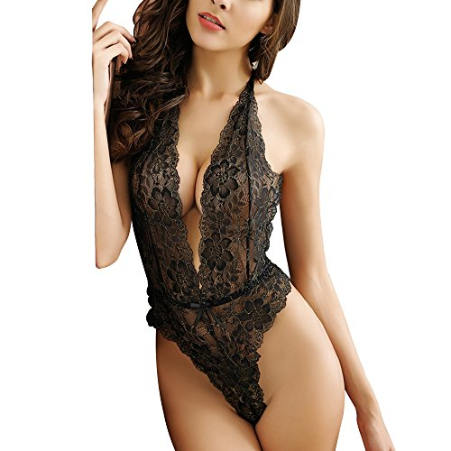 Draimior Sexy Lingerie for Women Halter Plunging Teddy Lace Deep V-Neck One Piece Babydoll (Halter Style Mesh Teddy)