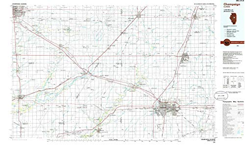 - YellowMaps Champaign IL topo map, 1:100000 Scale, 30 X 60 Minute, Historical, 1985, Updated 1986, 24.1 x 40.5 in - Polypropylene