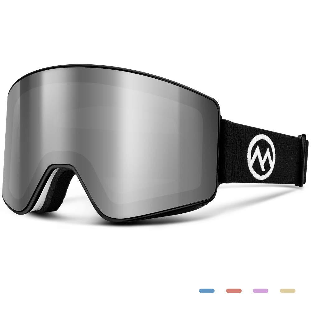 OutdoorMaster Ski Goggles - Interchangeable Lens with Flat, Cylindrical Style, OTG, Anti-Fog & 100% UV400 Protection - for Men, Women & Youth - White Frame + VLT 10% Grey Lenses