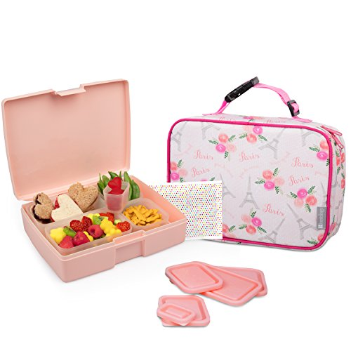 Bentology Lunch Bag and Box Set for Girls - Includes Insulated Sleeve with Handle, Bento Box, 5 Containers and Ice Pack - Paris (Best Places For Lunch In Paris)