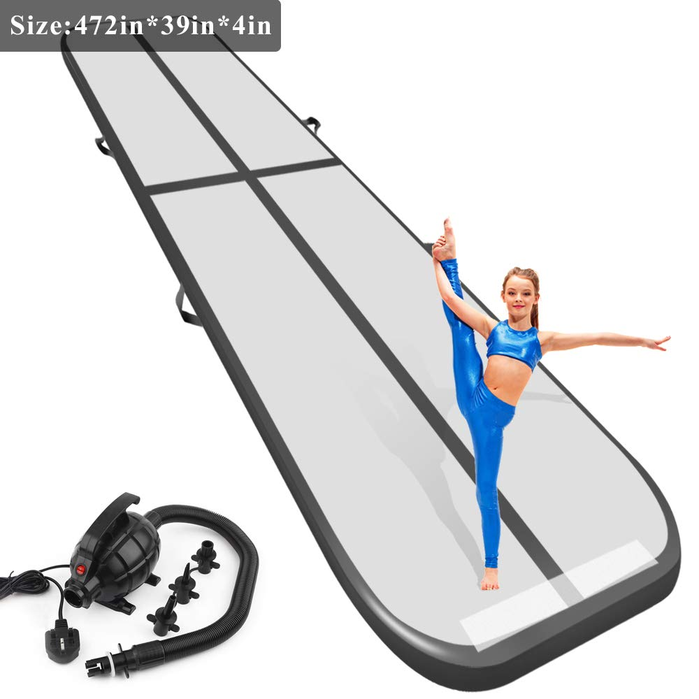 Playieer 9.84ft//13.13ft//16.4ft//19.69ft//23ft//26ft//29ft//33ft//36ft//39ft Air Track Tumbling Mat for Gymnastics Inflatable Airtrack Floor Mats with Electric Air Pump for Home Use Training