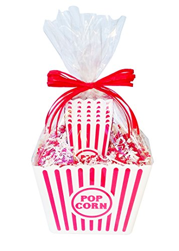 Popcorn Containers, Gift Basket, Movie Night, Reusable Plastic Popcorn Containers, with Glass Salt and Pepper Shakers, by Simply Pink Things
