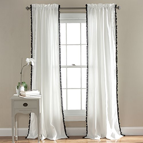 Lush Decor Pom Curtain | Textured, Solid Color Shabby Chic Style Window Panel Drape for Living, Dining Room, Bedroom (Single), 84