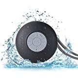 Wireless Shower Bluetooth Speaker With Suction Cup | Crystal Clear Sound, Built-In Mic & Rechargeable Battery | Portable & Waterproof Silicone Speakerphone & Hanging Cord (Black)