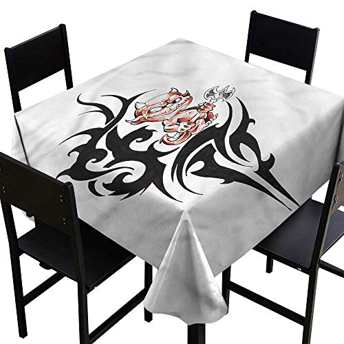 (home1love Tattoo Washable Square Tablecloth Devil and Japanese Warrior Table Cover for Kitchen Dinning Tabletop Decoratio 70 x 70 Inch)
