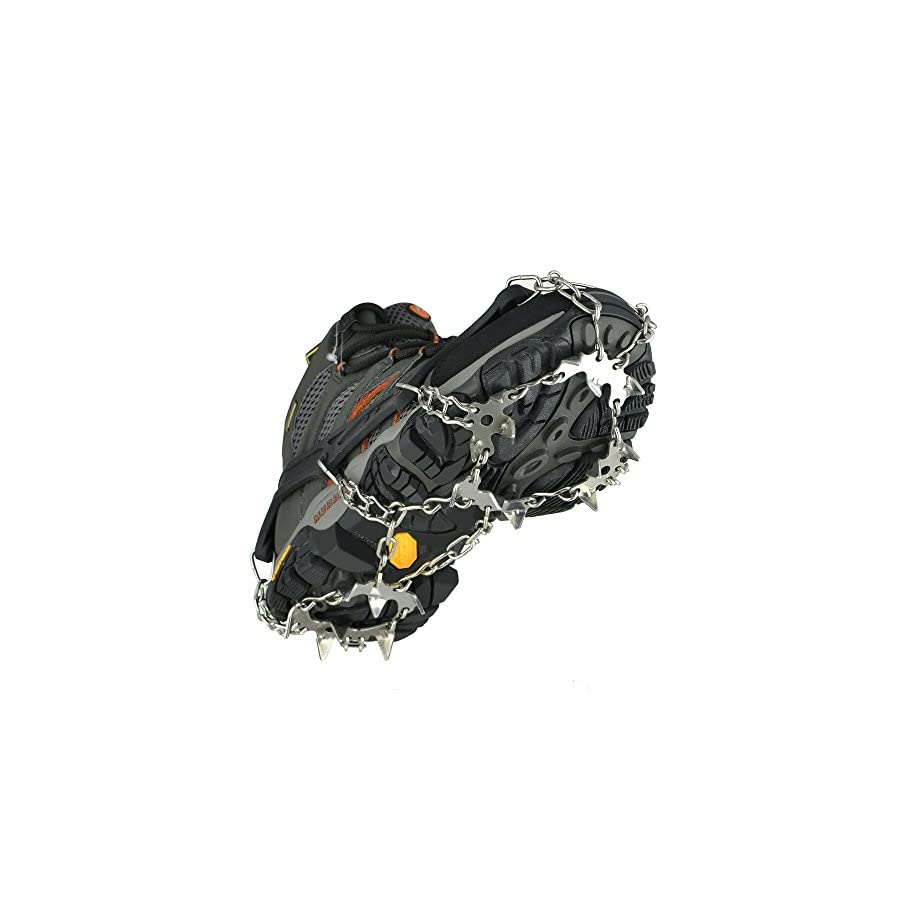 szlzhsm Crampons Universal Flexible Anti Slip Ice Grips Snow Traction Cleats Ice Spikes Crampon with Stainless Steel Chain for Climbing Hiking