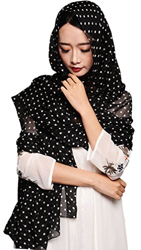 Aoli's Fashion Women's Solid Color Soft Long Oversized Mulberry Silk Wedding Scarf Wrap (Black and White (Dot Silk Scarf)