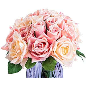 Foraineam 2-Pack Rose Fake Flowers 9 Heads Bridal Wedding Bouquets Silk Artificial Roses Flowers 3