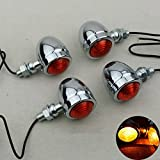 TUINCYN Silver Motorcycle Mini Turn Signal Light Indicator Bulbs Front/Rear Amber/Yellow Lights Fit for Chopper Bobber Cafe Racer Motorbike(Pack of 4)