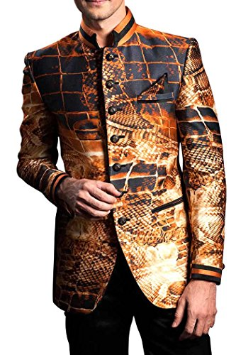 INMONARCH Mens Wedding Look 2 pc Digitally Print Brocade Tuxedo Suit TX3285 54L Mix Color