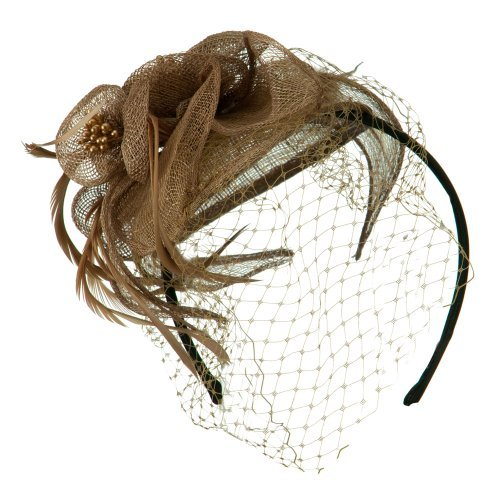 Sinamay Tear Drop Cocktail Hat - Taupe OSFM