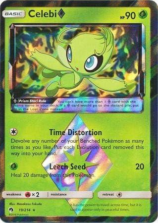 Celebi 19//214 Prism Rare Lost Thunder Pokemon Sun and Moon