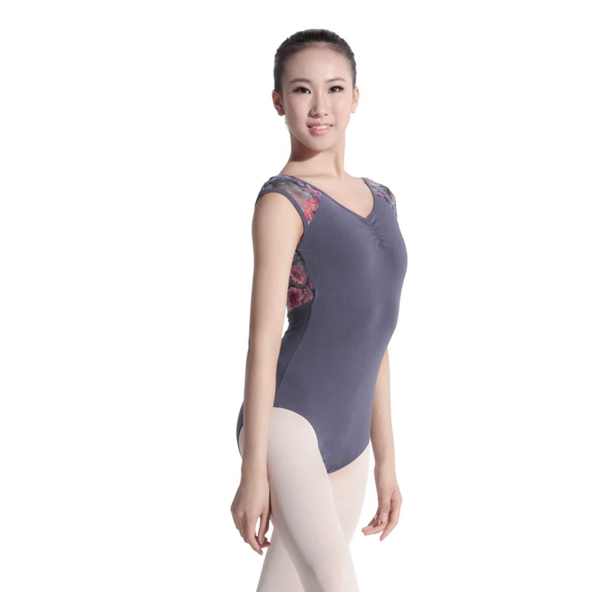Baiwu Dance 116141052 メッシュ プリント レオタード フローラル レオタード レオタード (グレー、XL) B07G5KD1Y5